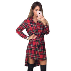 Women Dress Long Sleeve Office Dress Irregular Plaid Shirt Dresses Women Clothes