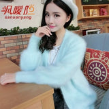 Women Knitted Mink Cashmere Cardigan Knit Sweater Coat Jacket Outwear Waistcoat