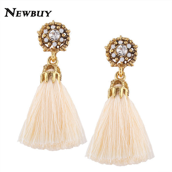 NEWBUY Tassel Earrings Handmade Trendy Women Wedding Statement Fringed Earrings