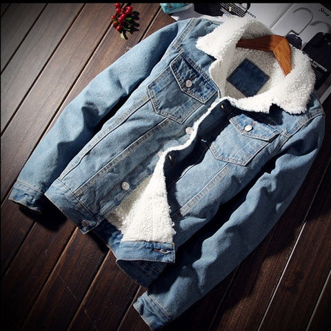 Jeans Jacket Men Winter Windbreaker Warm Coat Casual Pocket Male Denim Jacket