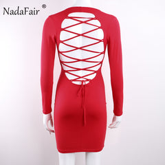 Long Sleeve Stretchy Club Bandage Bodycon Dress Women Black Red Lace Up Backless Party Dresses