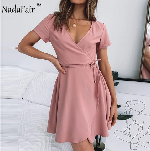 Tie Waist V Neck Mini Summer Dress Ruffles Wrap Lace Up Pink Casual Short Dresses