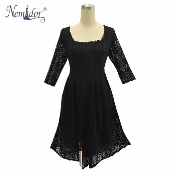Autumn Women Elegant Half Sleeve Vintage A-line Dress Square Neck Plus Size Lace Party Midi Dress