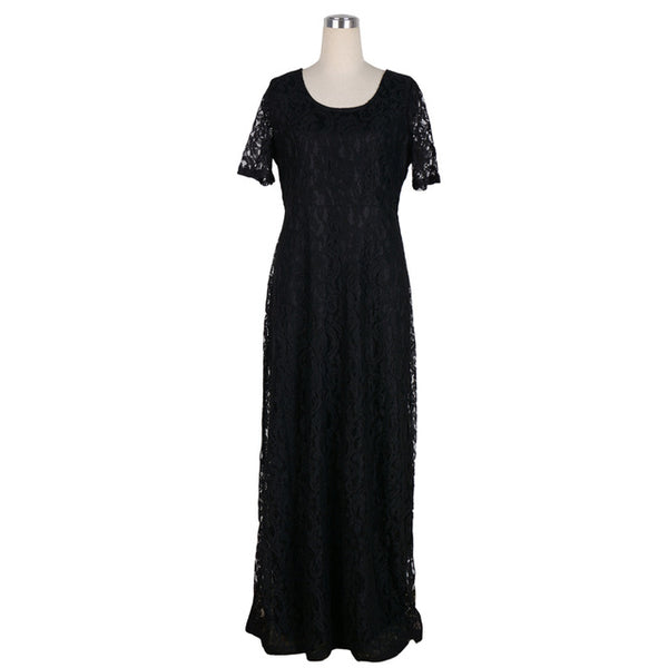Nemidor Lace Party Dress Plus Size Short Sleeve Floor Length Summer Casual Long Maxi Dress