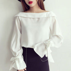 One Shoulder Blouse Women Slash Neck Long Sleeve Bowknot Shirts Lady Casual Solid Tops