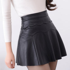 Russia Black Red Leather Skirt Women Vintage High Waist Pleated Female Short Skirts