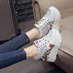 Women Sneakers Platform Wedge Breathable 11CM High Heel Casual Shoes Summer Height Increasing Shoes