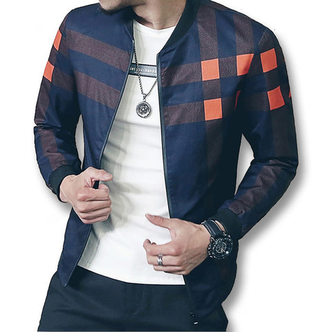 New Baseball Collar Jacket Men Plaid Bomber Jackets Male Autumn Active Windbreaker Coat
