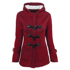 Winter Autumn Womens Overcoat Female Hooded Tops Zipper Horn Button Outwear Jackets