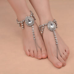 Bridal Barefoot Sandals Wedding Foot Jewelry Crystal Rhinestone Anklet Charm Bracelet