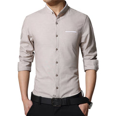 Casual Men Shirt Long Sleeve Mandarin Collar Slim Fit Shirt Korean Business Shirts Men Clothes