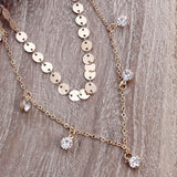 Jewelry Layered Necklaces Gold Color Disc Choker Crystal Sequins Pendant Necklaces