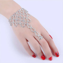 Rhinestone Bangle Chain Link Finger Ring Women Chain Dancing Gloves Bracelet Jewelry