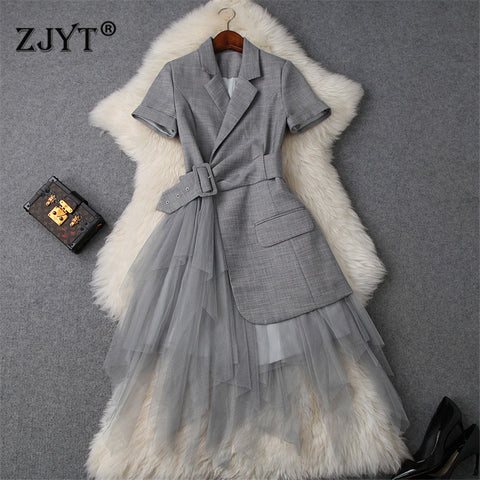 Runway Summer Dress Women Notched Collar Blazer Patchwork Tulle Party Office Dress
