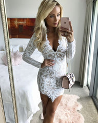 New Long Sleeve Lace Dress Sexy Women Mini Party Dresses