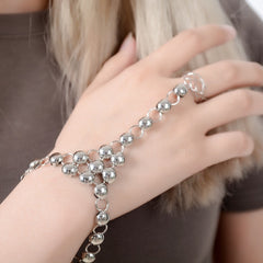 Silver Slave Rings Bracelet Siamese Link Chain Wide Cuff Wedding Party Jewelry Hand Accessories