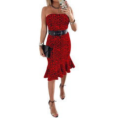 Leopard Print Dress Strapless Ruffled Summer Sheath Sleeveless Club Red Color Dress
