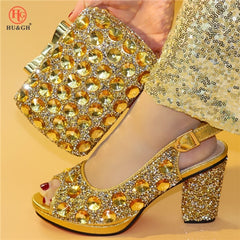 Silver Italian Shoes Matching Clutch Bag African Big Wedding High Heel Sandals Bag Set Party