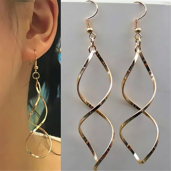 Simple Spiral Curved Long Drop Earrings Wave Design Jewelry Party Wedding Earrings