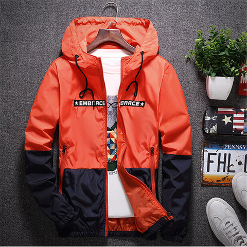Bomber Hooded Jacket Men Casual Slim Patchwork Windbreaker Jacket Male Outwear Zipper Thin Coat