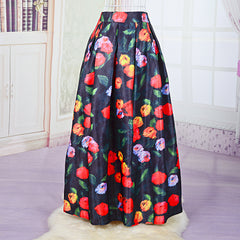 Spring Summer Women Long Skirt High Waist A-Line Flower Printed Elastic Big Swing Skirt