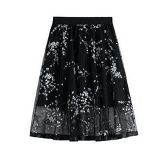Summer Perspective Mesh Floral Printed A-Line Skirts Women White Black Red Flower Midi Skirt