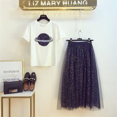 Summer Short Sleeve T-shirt Sequined Mesh Mid Calf Skirts Set Suit Sequined Planet Pattern