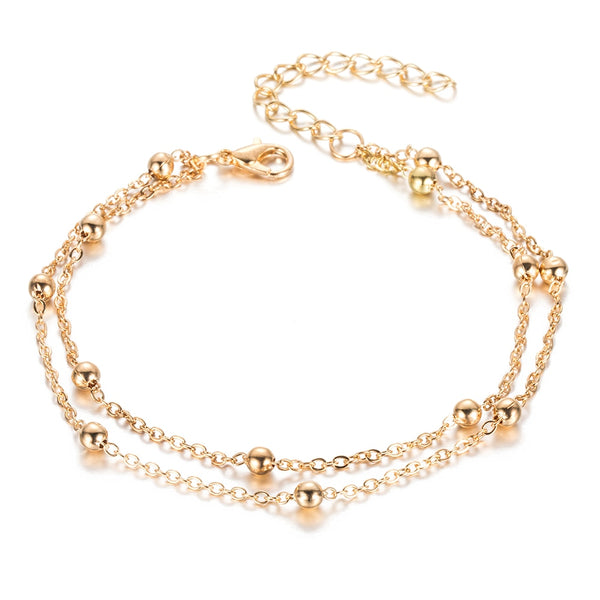 Summer Gold Silver Color Bead Chain Anklet Vintage Foot Sandals Bohemian Beach Leg Jewelry