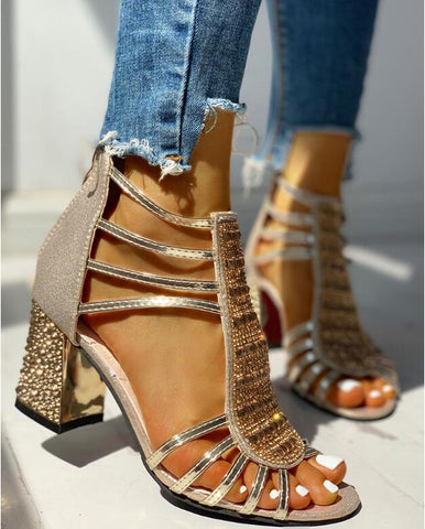 Woman Sandals Shoes Summer Style Wedges Pumps High Heels Slip on Bling Gladiator Shoes