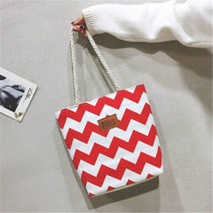 Women Canvas Pack Large Shopping Shoulder Tote Bags Striped Printed Shoulder Bags