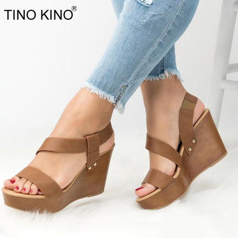 Women Wedge Platform Sandals Summer Slip On High Heels Shoes Open Toe Casual Footwear