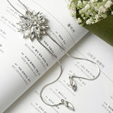 Zircon Snowflake Long Necklace Fine Metal Chain Crystal Rhinestone Flower Pendant Necklaces