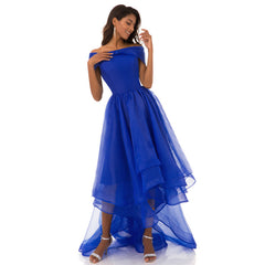 Elegant Long Dress Prom Party Dresses High-low Boat Neck Organza Simple Formal Dress
