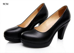 Genuine Leather Shoes Women High Heels Spring Autumn Black Pumps Comfortable Work Shoes