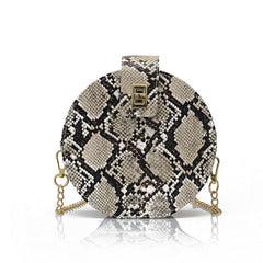 Round Snake Print Shoulder Bag PU Leather Chain Messenger Handbag