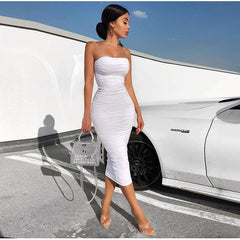 White Summer Dress Ruched Maxi Pink Party Night Long Dresses
