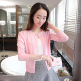 Knitted Cardigan Women Spring Autumn Long Sleeve Sweater Cardigan Single Button Pull Black/Pink