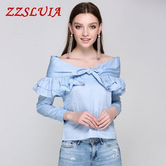 Solid Color Ruffles Bow Designer Slash Neck Long Sleeve Slim Blouses Shirts Casual Women's Tops