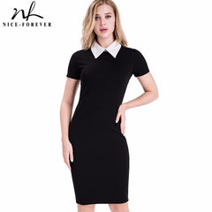 Nice-forever Career Turn-down Collar Fit Work Dress Vintage Office Pencil Bodycon Midi Dress