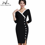 Nice-forever Mature V-neck Button Work Dress Office Bodycon 3/4 Sleeve Sheath Women Dress