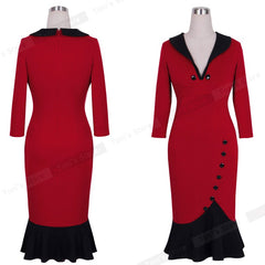 Nice-forever Mermaid Button Sleeve Red Vintage Dress V Neck Formal Bodycon Midi Dress