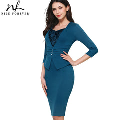 Vintage Brief Lace Casual Work 3/4 Sleeve Sweat Heart-Neck Bodycon Knee Women Office Pencil Dress