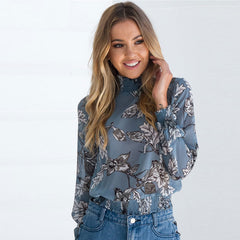 Flower Printed Chiffon Shirt Women Turtleneck Elastic Waist Casual Tops Loose Long Sleeve Blouse