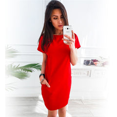 O-neck Short Sleeve Solid Party Loose Straight Fashion Pockets Elegant Dress