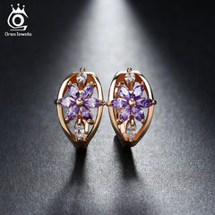 ORSA JEWELS Luxury Gold Flower Small Stud Earrings Zircon Stone Women Birthday Gift