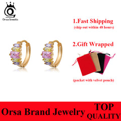 ORSA JEWELS Multi Colors Square Austrian CZ Crystal Earring Gift Girl's Ear Stud Accessories