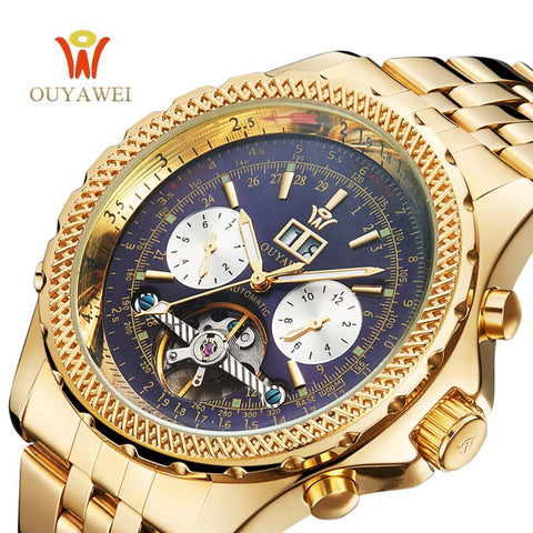 Men Watches Luxury Automatic Mechanical Gold Tourbillon Complete Calendar Clock Wrist Watch