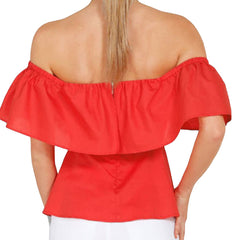 Off Shoulder Women Tops Ruffles Waist Blouse Summer Short Sleeve Korean Shirts