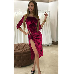 Autumn Women Sexy Bodycon Knee Length Midi Elegant Lady Off Shoulder Red Velvet Party Dress