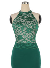 Women Knitted Halter Green Lace Crop Top Sleeveless Patchwork Slim Casual Party Pencil Dress